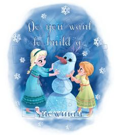Printable DIY Frozen Elsa and Anna Do you want to build a snowman iron on transfer digital art INSTANT DOWNLOAD