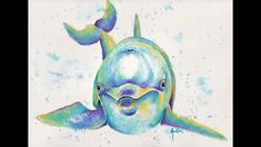 How to paint a Colorful Dolphin Watercolor Tutorial Cousineau Art Colorful Animal Paintings, Colorful Animals, Pen And Watercolor, Watercolour Painting, Dolphin Painting, Happy Paintings, Watercolour Tutorials, Sales And Marketing, Beach House Decor