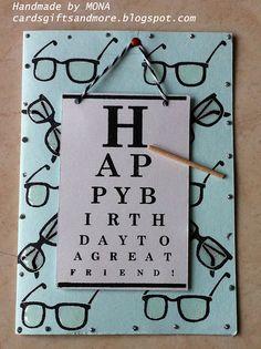 Happy Birthday eye chart card for FUT Birthday Cards For Boys, Handmade Birthday Cards, Happy Birthday, Cool Cards, Diy Cards, Cards For Men, Glass Theme, Eye Chart, Love Holidays