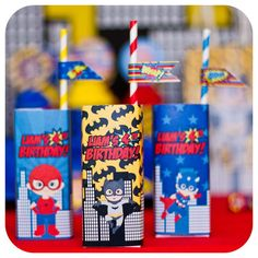 Fun juice boxes at a superhero birthday party! See more party ideas at CatchMyParty.com!