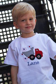 Boys Monogrammed 4th of July Shirt or Onesie, Patriotic, Dump Truck, Fourth of July. $24.00, via Etsy.