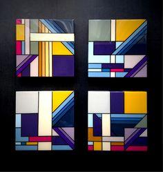 "Acrylic and epoxy resin on cradled 10""x10""panels.  #painting #geometric #richardblanco"