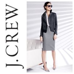 """J.Crew Classic Grey Pencil Skirt Simple and chic, this grey pencil skirt carries you Fall through Spring. Back zip closure and back vent slit. Wool w/ complete poly lining. Sz 4- Waist 15.25"""", Length 23.5"""". EUC, no notable flaws, almost like new! Offers considered. ❌no offsite transactions J. Crew Skirts Pencil"""