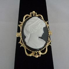 """Vintage Gerry's Black and White Cameo Brooch It measures 2"""" by 1.25"""" approximately priced at $19.99 with Free Shipping to the United States.  www.CCCsVintageJewelry.com Have a great vintage day! Best, Coco"""