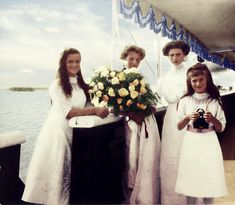 """Grand Duchesses of Russia from left to right: Maria, Olga, Tatiana, and Anastasia. 1912 (source)"""""""