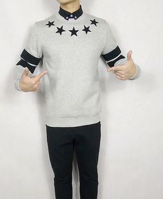 STARS STRIPED PATCH WORK SWEATSHIRT R029 JAPANESE STYLE  $49.00