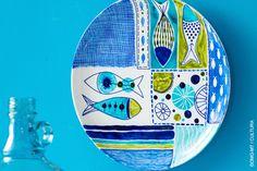 Painted Ceramic Plates, Ceramic Decor, Ceramic Design, Hand Painted Ceramics, Ceramic Art, Pottery Painting, Ceramic Painting, Diy Painting, Diy Art