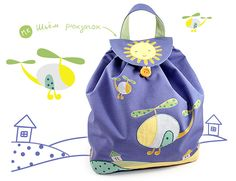 """Мой рюкзачок из сентябрьского номера """"Mamas&Papas"""". 1. РАСКРОЙ. Из основной темно-синей ткани выкраиваем: полотно для рюкзака 72 на 31 см; днище рюкзака - прямоугольник со скругленными уголками, 25 на 11 см; верхнюю часть ручки 23 на 2,5 см; внутренний кармашек 10 на 20 см; клапан рюкзака и две…"""
