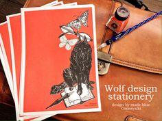 Black Wolf design stationery   ハンドメイドマーケット minne