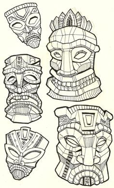 Tiki Drawings Illustration | This tiki mask is for a longboard ...