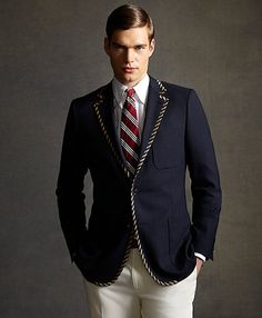 The Great Gatsby Collection Tipped Navy Blazer. Brooks Brothers. $798