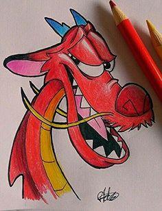 Mushu drawing Leben I Disney Character Drawings, Disney Drawings Sketches, Cute Disney Drawings, Art Drawings Sketches Simple, Pencil Art Drawings, Easy Drawings, Animal Drawings, Drawing Disney, Cool Cartoon Drawings