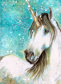MAGICAL SHINE Aceo Print Gorgeous White Unicorn by dianaarcuri,