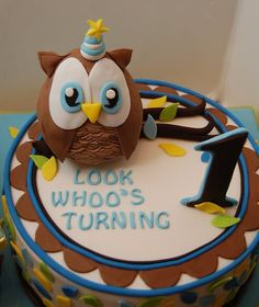 Look Whoo's Turning ONE!  Owl cake!! Smash cake for a boy. Custom design to match the party décor.   Cute!!