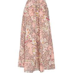 Paul & Joe Floral-print silk-chiffon maxi skirt (7.363.300 IDR) ❤ liked on Polyvore featuring skirts, pink floral skirt, long floral skirts, pink skirt, floor length skirt and long skirts