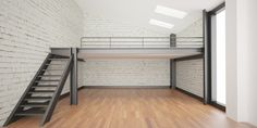 interior rendering industrial Mezzanine space and wood floor and Loft design Mini Loft, Loft House Design, Garage Design, Interior Rendering, Home Interior Design, Interior Architecture, Mezzanine Loft, Loft Interiors, Diy Home Decor