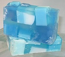 Sandlapper Soaps - Big Blue Sea: Salt Soap,   Pretty blues and a wonderful blend of fragrances make this a favorite soap. Intended to be a soap for men, we find it's also a ladies' favorite.     $5.00 (http://www.sandlappersoaps.com/big-blue-sea-salt-soap/)