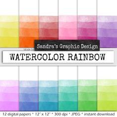 Waterverf strepen digital paper STREPEN met door SandraGraphicDesign