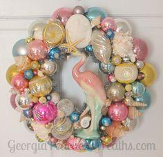Sea Shells & Shiny Brites Wreath.  A GeorgiaPeachez Wreaths original design. Pink crane/flamingo