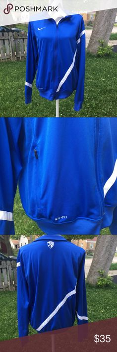 Nike dry-fit zip up jacket Nice in excellent condition dry fit zip up jacket by Nike. Great for spring or fall. Great for workout to get in shape or great for jogging or running 🏃. Size is XL and color is blue with white. Nike Jackets & Coats Windbreakers