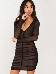 Sheer Pleated Dress