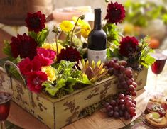 flowers, fruit and wine
