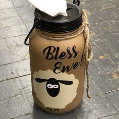 Mason Jar Tissue Holder Bless Ewe Lamb Sheep