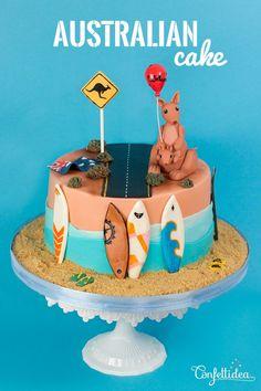 Austalian Cake: flag, kangaroo, surf, surfing, waves, sweet cake