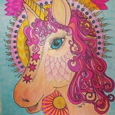 Thank you Dawn Jones from Facebook Group Aussie Colouring Fanatics for sharing her interpretation of my Unicorn Mandala Colouring Pages.  She has done a beautiful job with her Copics and achieved good dimension.  How would you colour this piece?