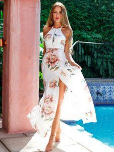 1472b20cbbc Vestido largo Chifón B119 blanco con escote redondo con estampado de flores  con abertura lateral sin · Peach Maxi DressesFloral Beach DressesMaxi Dress  ...