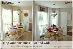 Hang your curtains high and wide, and use flat sheets for easy, no sew, back tab, floor length curtains