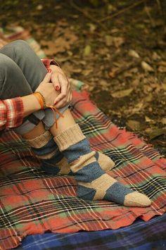 Cozy socks and Tartan blankets