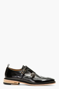 AMI Black Leather Monkstrap Brogues