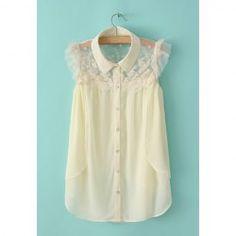 $13.53 Ladylike Lace Splicing Sleeveless Plus Size Shirt For Women