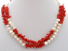 Vintage Sardinian Coral Pearl Necklace Sterling Silver Red Double Strand Estate | eBay