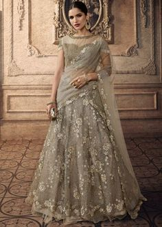 Grey color net wedding lehenga choli with beads work. Grey party wear lehenga choli is net fabricated lehenga and choli with dupatta. Grey designer lehenga choli latest collection available at fabja. Designer Bridal Lehenga, Indian Bridal Lehenga, Choli Designs, Lehenga Designs, Lehenga Choli Online, Lehga Choli, Party Wear Lehenga, Silk Lehenga, Anarkali Gown