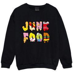 Junk Food Sweater Jumper Womens Ladies Fun Tumblr Hipster Swag Fashion Grunge Kale Retro Top Beyonce