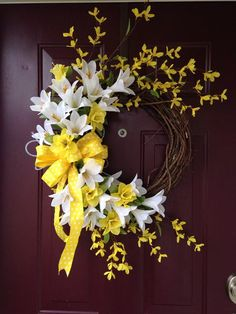 Easter Lilly Floral Grapevine Wreath With Yellow Accents Holiday Wreaths, Summer Door Wreaths, Easter Wreaths, Wreaths For Front Door, Spring Wreaths, Outdoor Wreaths, Wreath Crafts, Diy Wreath, Wreath Ideas