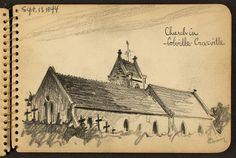 Victor Lundy, disegni della seconda guerra mondiale (1944) Chiesa a Crasville, Francia