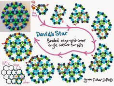 Gwenbeads free tutorial a beading math lesson with david s star for children and adults Beaded Earrings Patterns, Beading Patterns Free, Free Pattern, Pattern Sewing, Beading Projects, Beading Tutorials, Beaded Crafts, Earring Tutorial, Beads Tutorial