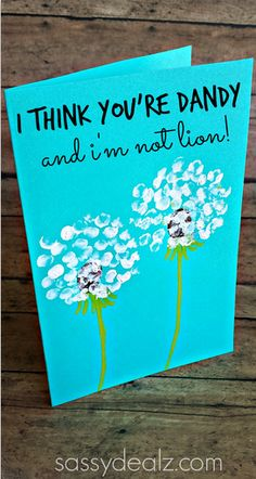 "Fingerprint Dandelion Card for Father's Day, Mother's Day or Valentines! ""I think you're dandy and i'm not lion!"" great for fathers day Kids Crafts, Cute Crafts, Valentine Day Cards, Valentines Diy, Printable Valentine, Valentine Wreath, Valentines Cards For Teachers, Card For Teacher, Valentines Day For Mom"