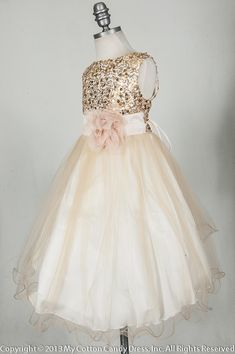 Ideas for a friend: Champagne Flower Girl Dress... So pretty but top might be itchy with all those sequins Ashley, I began thinking, if her flowers are the pink, her bridesmaids dresses probably should be a different color. I'mma go crazy with these pins for you! :D