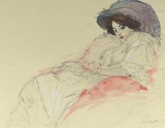 LADY WITH A HAT, FIGURE STUDY  - Leo GESTEL  Dutch painter 1881-1941  pencil and watercolour heightened with white on paper