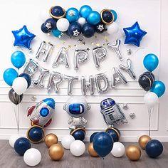 Baby Birthday Themes, Baby Boy First Birthday, 8th Birthday, White Party Decorations, Diy Birthday Decorations, Decoration Star Wars, Happy Birthday Foil Balloons, Space Party, Star Wars Birthday