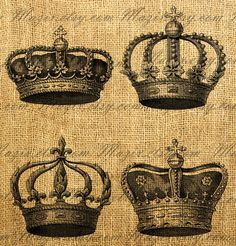 Vintage Crowns Set Digital Image Download Great For Image Transfer on Pillows, Tea Towels and more - Style. 261