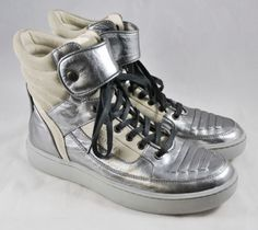 Alexander-McQueen-Puma-silver-gray-leather-high-top-sneakers-7-39-NWOT-RTL-805