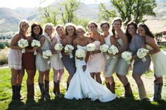 Country mix-and-match bridesmaids Jordan | Brideside #wedding