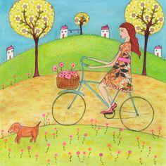 Nursery Decor Children Decor GIrl on Bike Art Print by Sascalia, $55.00