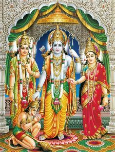 "☀ Sita Ram Lakshman Hanuman ॐ ☀ Artist: C.Vishnu ""Wherever Lord Ramachandra visited, the people approached Him with paraphernalia of worship and begged the Lord's blessings. ""O Lord,"" they said, ""as. Hanuman Images, Lakshmi Images, Lord Krishna Images, Krishna Pictures, Krishna Photos, Sri Ram Image, Ram Bhagwan, Shri Ram Wallpaper, Krishna Wallpaper"