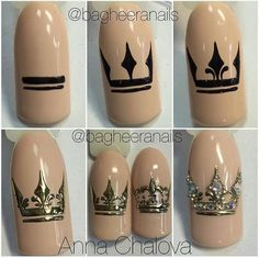 All of these nail designs are actually as simple as they are awesome. For those who are regularly trying to find options and brand-new designs, nail art designs are a way to display your character as well as to be original. Nail Art Diy, Diy Nails, Cute Nails, Pretty Nails, Manicure, Crown Nail Art, Crown Nails, Nail Art Techniques, Luxury Nails